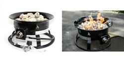 Portable Fire Pit Outdoor 58000 BTU Propane Patio Lava Rock Camping Event
