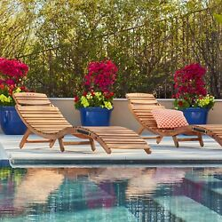 Outdoor Wood Chaise Chair Lounge Lahaina Foldable Pool Garden Folding Set of 2