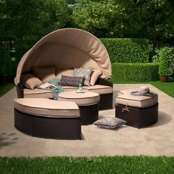 Wicker Patio Furniture Daybed With Canopy Set 4-Piece All-Weather Resistant