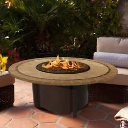 American Fire Products Carmel Chat Height Round Mosaic Tile Top Gas Fire Pit