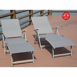 Patio Recliner Chairs Aluminum Beach Yard Pool Folding Adjustable Chaise Lounge