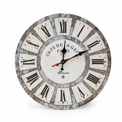 Vintage Wooden Round Wall Clock Roman Numeral Shabby Chic Style Rustic Decor New
