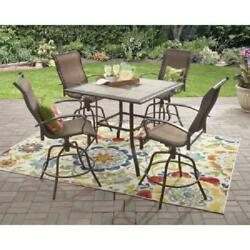 Outdoor Dining Set Counter High Patio Ceramic Table Bar Height Swivel Chairs 5PC