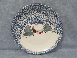 CABIN IN THE SNOW by Tienshan Dinner Plate Blue Cabin & Christmas Tree Sponge