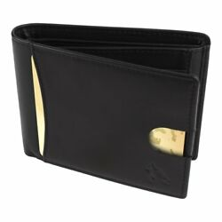 Hemwolf Men'S Black Italian Leather Trifold Wallet With Rfid Blocking Heavy Duty