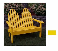 Prairie Leisure Design 28-in W x 52-in L Buttercup Yellow Patio Bench Outdoor
