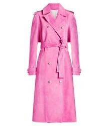 NEW CALVIN KLEIN 205W39NYC WOMENS PINK SUEDE TRENCH COAT