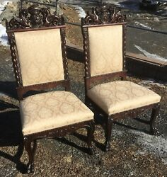 PAIR OF MAHOGANY WINGED GRIFFIN CHAIRS R.J. HORNER