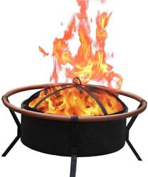 Jeco 34 in. Copper Finish Steel Fire Pit Celtic Round Fire Pit New Age Patio