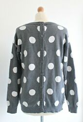 Button Back Grey Polka Dot Jumper Sweater White Grey Buttons Size M 10 12