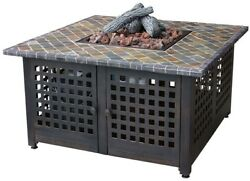 Outdoor Square Metal Fire Pit Patio 41.2 Propane Gas Fire Pit with Slate Mantel