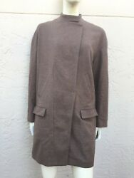 BRUNELLO CUCINELLI CASHMERE WOOL CLASSIC WOMENS COAT MADE IN ITALY SZ 48