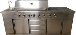 New 3 in 1 Stainless Steel Outdoor BBQ Kitchen Island Grill Propane LPG w SINK