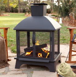 USA 25722 Redford Outdoor Fireplace Black