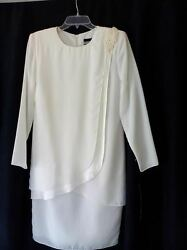NEW WHITE COCKTAIL DRESS Long Sleeve Tiered Size 6 by Nicole Paris $24.95