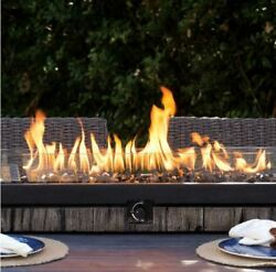 Rectangular Outdoor Tabletop Gas Fire Pit Patio Propane Rustic Fireplace Bowl