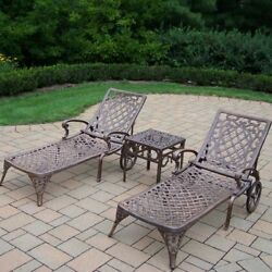 Oakland Living Mississippi Chaise Lounge - Set of 2 wTable