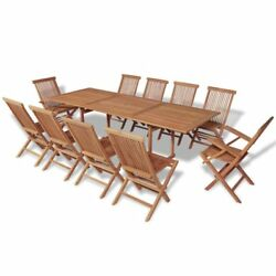 11 Piece Outdoor Patio Classic Dining Wood Teak Set Table And 10 Folding Chairs
