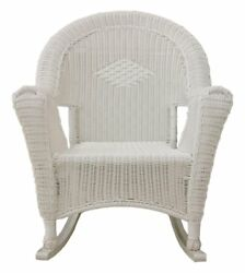 Rocking Patio Chair Solid Cast Frame Outdoor Indoor Resin Wicker Furniture White
