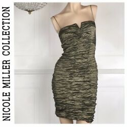 Nicole Miller Collection Ruched Green Cocktail Dress Size 4 Worn Once $51.00