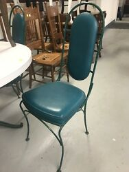 French Country Iron 1960's Dining Table 4 Chairs High Back Blue Chairs Patio Set