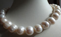 HUGE 12-13MM SOUTH SEA GENUINE WHITE BAROQUE PEARL NECKLACE 18