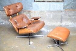 Vintage Eames Style Plycraft Lounge Chair and Ottoman Caramel Leather MCM Modern
