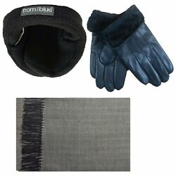 Mens Fur Led Gloves & Soft Cashmere Feel Scarf & 180s From the Blue Adjustable