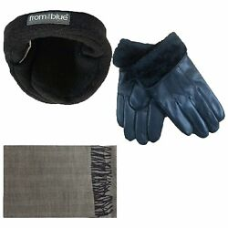 Mens Fur Led Gloves & Soft Cashmere Feel Scarf & 180s From the Blue Adjustable X