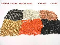 100 Slotted Tungsten Beads Copper Black Gold Silver Orange 5 Sizes  $16.75