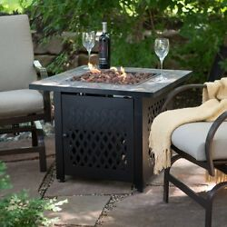 Endless Summer Slate Mosaic Propane Fire Pit Table with FREE Cover Brown