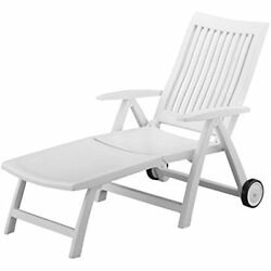 Lounge Chairs Roma Folding Lounger White Resin