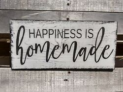 farmhouse sign wood HAPPINESS IS HOMEMADE rustic wooden decor family happy sign $16.99