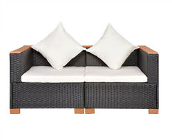 2Seater PE Rattan Sofa Set Outdoor Indoor Wicker Lounge Furniture With Cushions