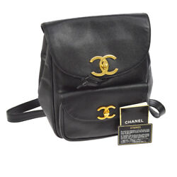 Authentic CHANEL CC Chain Backpack Bag Black Caviar Skin Leather Vintage AK18415