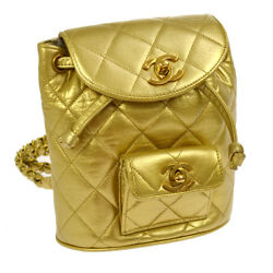 Authentic CHANEL Quilted CC Logos Chain Backpack Bag Gold Leather GHW N00637
