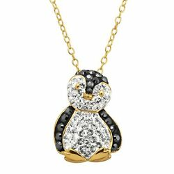 Penguin Pendant with Crystals in 18K Gold Plated Silver $23.49
