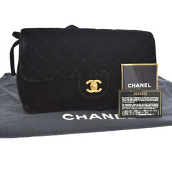 Authentic CHANEL Quilted Chain Backpack Black Velvet Vintage GHW GOOD N00666