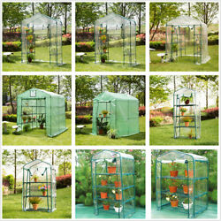 Glitzhome Portable Walk In Greenhouse PE Cover Garden Green House Plant Shed PVC