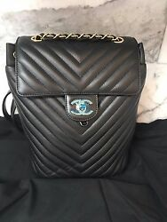 Authentic BNIB Chanel Chevron Small Medium  Backpack Gold  Hdw Urban Spirit Bag