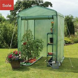 Outdoor Walk-In Greenhouse Shelves Gardening PVC Cover Plant House Shed Storage