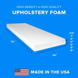 High Density Upholstery Foam Seat Couch Cushion Replacement 24quot; x 72quot; $29.95