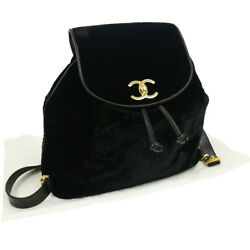 Authentic CHANEL CC Logos Drawstring Backpack Black Velvet Vintage GOOD N20308