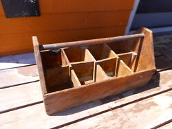 Farmhouse Vintage Wooden Tote Caddy Carpenter's Tool Box Primitive Large