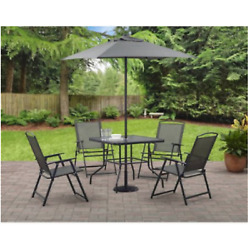 6 Piece Patio Dining Set Outdoor Folding Chairs Table Garden Bistro Furniture