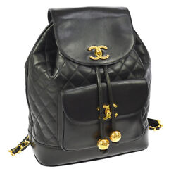 Auth CHANEL Quilted CC Logos Chain Backpack Bag Black Leather Vintage AK19490