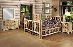 Rustic Pine 5 PC log Furniture Suite set Bed Cedar UF cabin western