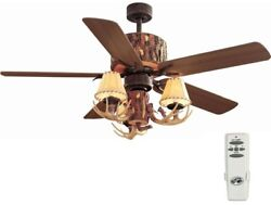 Hunter Ceiling Fan Home Nutmeg Lodge Rustic Log Cabins Decor Antler Light Kit