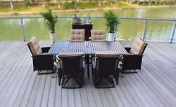 8pc Cast Aluminum Patio Dining Set Table 6 Swivel Rocking Chairs wServing Bar