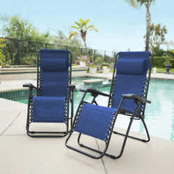 2-Pack Caravan Sports Zero Gravity Reclining Outdoor Lounge Chair  blue